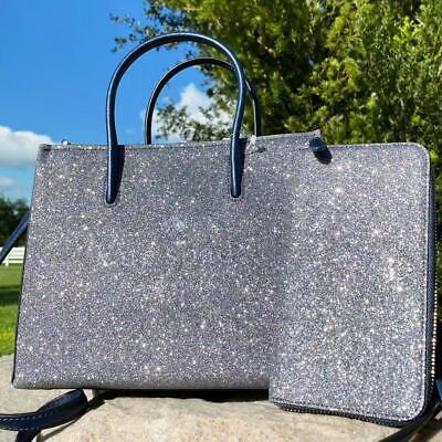 Kate Spade Trista Glitter Dusk Navy Shopper Tote Crossbody + Lola Large Wallet
