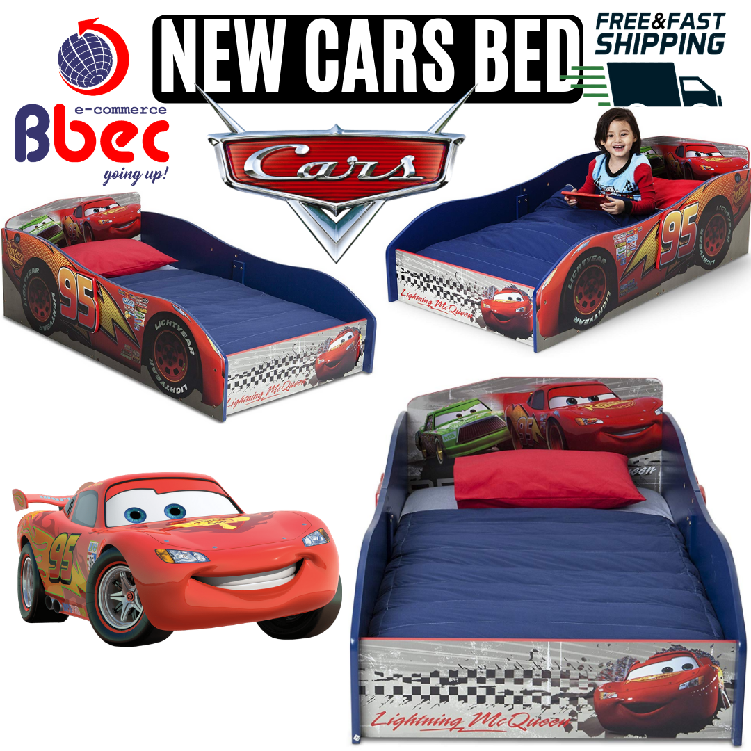 Toddler Bed Kids Disney Cars Bedroom Furniture Wooden Lightn
