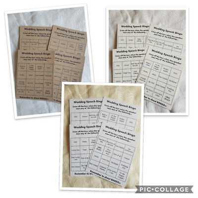Wedding Speech Bingo Game - Wedding Day Bingo Game - Wedding Bingo Cards x 10
