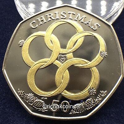 2009 IOM Xmas Colour-printed Diamond Finish 50p Coin