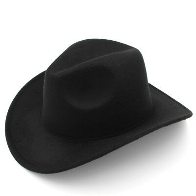 Child Boy Girl Fashion Western Wide Brim Cowboy Hat Winter Felt Fedora Jazz Cap - Cowboy Hats Kids
