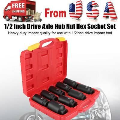 5Pcs 12 Point Axle Hub Nut Socket Sleeve Set Metric Deep Drive Impact  30-36mm