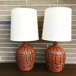 Two midcentury ceramic lamps with shades