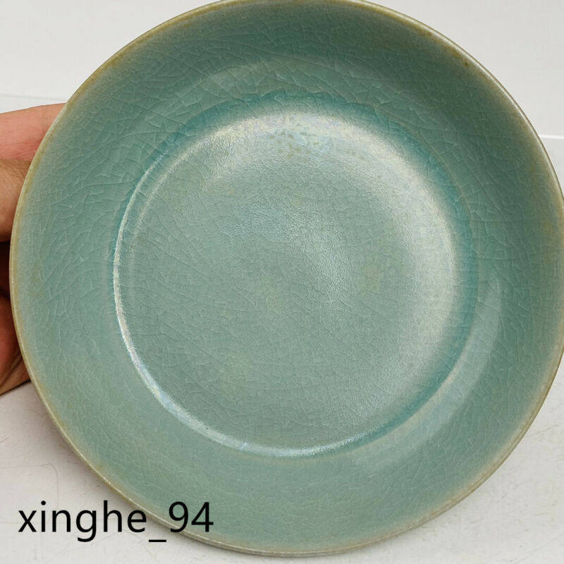 "5.7"" Old Song dynasty Porcelain ru kiln museum mark blue Ice crack Brush Washer"