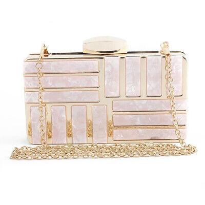 Women Shoulder Bag Lady Purse Evening Party Prom Chain Box Clutch Pink Birthday  Evening Clutch Handbag Shoulder Bag
