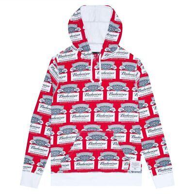 """HUF x Budweiser """"Label"""" Pullover Hoodie (Red) Men's Hooded Beer Sweatshirt"""