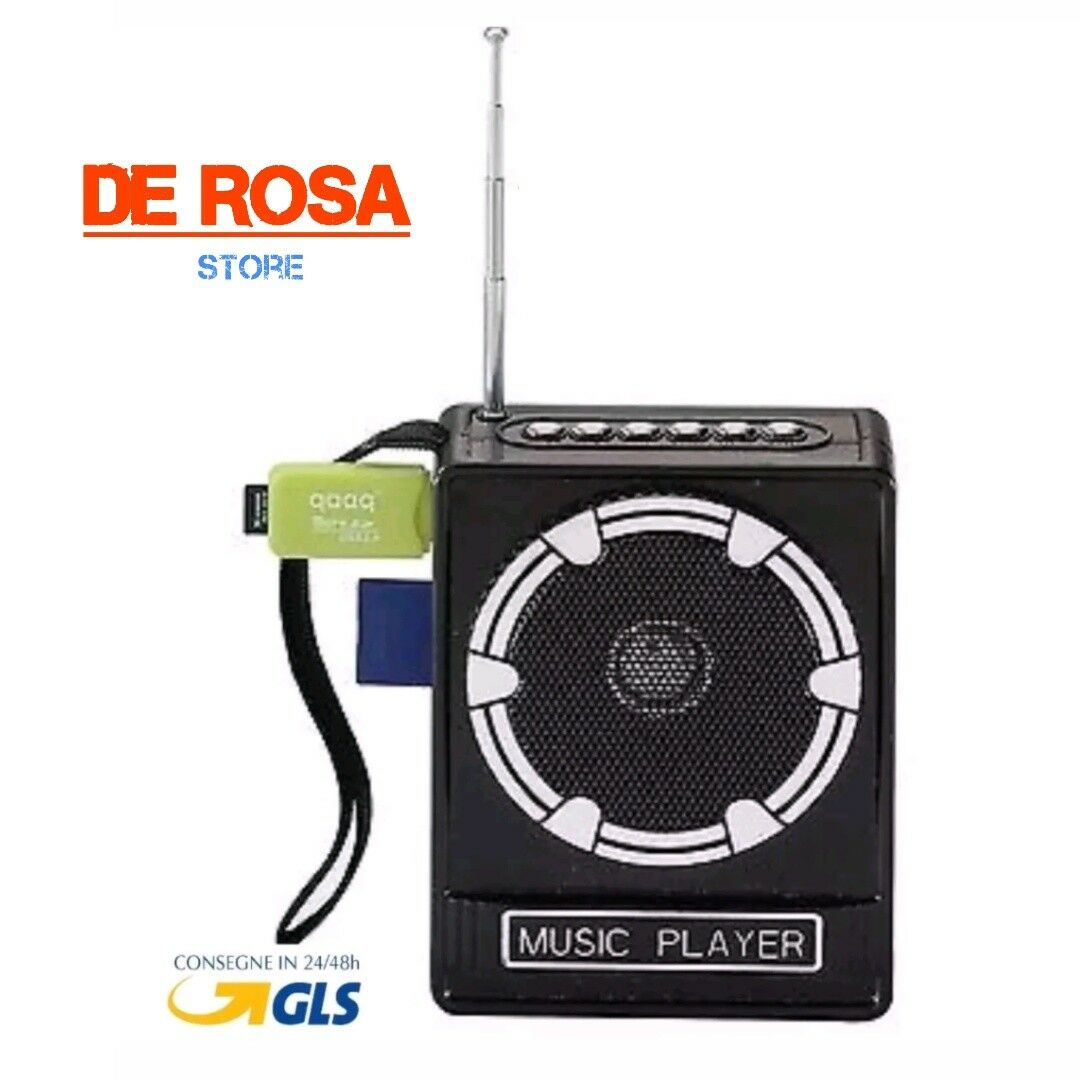 CASSA AMPLIFICATORE RADIO PORTATILE LETTORE STEREO MP3 FM SD CARD USB