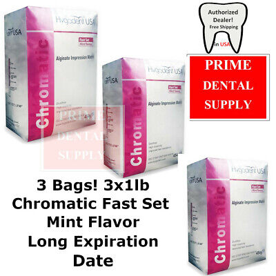 3 Bags Hygedent Chromatic Alginate Dental Impression Material Fast Mint 3x1lb