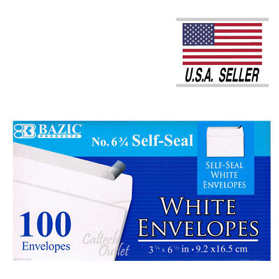 """100 Peel and Self-Seal White Letter Mailing Envelopes Shipping 3-5/8"""" x 6-1/2"""" White Mailing Seals"""