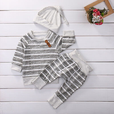 US 3pcs Newborn Baby Stripe Top T shirt+Pants+Hat Outfit Boy Girl Clothing 0-18M