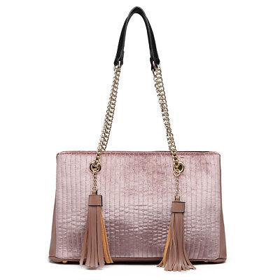 Women's Suede Quilted Tote Handbag Ladies Tassel Chain Large Shoulder Bag