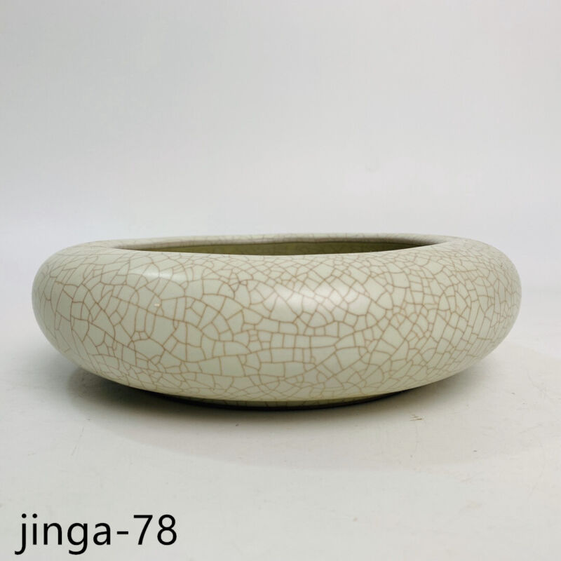"7.5"" Old Song dynasty Porcelain ru kiln museum mark White Ice crack Brush Washer"
