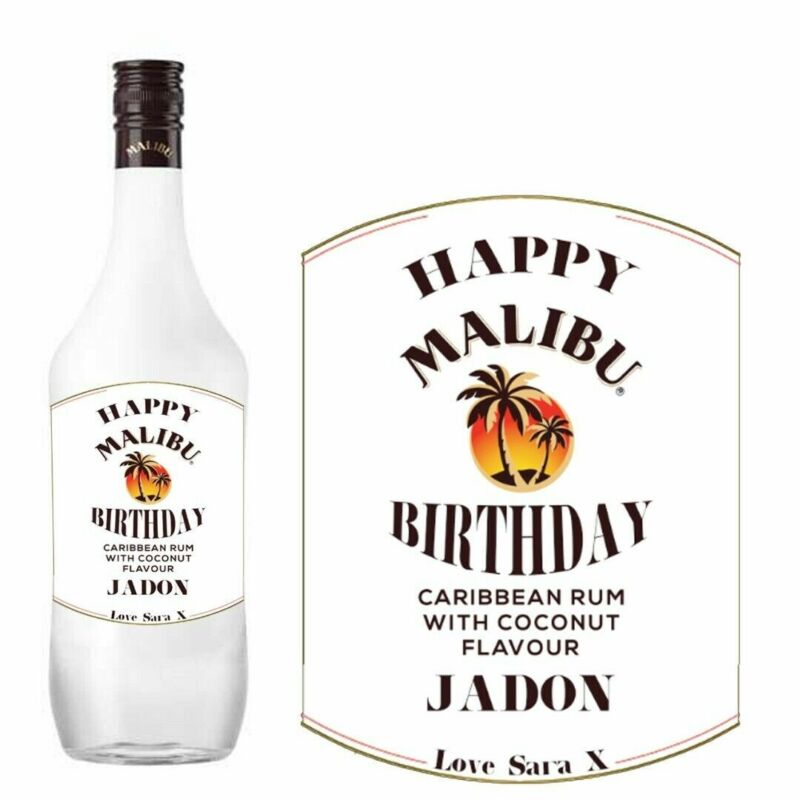 Personalised malibu coconut rum Bottle Label For Birthday family friend BL234