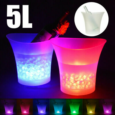 7Colours LED Changing Ice Bucket Champagne Wine Drinks Cooler Bar Party Festival