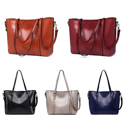 Women Designer Faux Leather Handbag Ladies Plain Large Shoulder Tote Bag