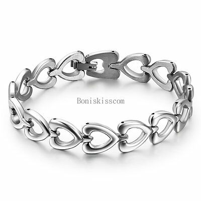 Women's Ladies Silver Stainless Steel Love Heart Link Chain Bangle Bracelet Gift