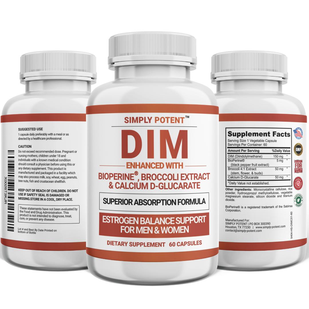 DIM Supplement 150mg + BioPerine for Menopause Relief Hot Flashes Estrogen Pills 3
