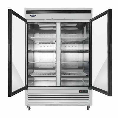 Atosa 55 2 Door Upright Stainless Steel Glass Window Reach In Refrigerator