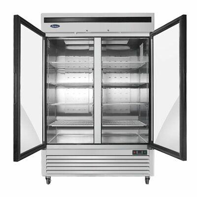 Atosa 55 2 Door Upright Stainless Steel Glass Window Reach In Refrigerator