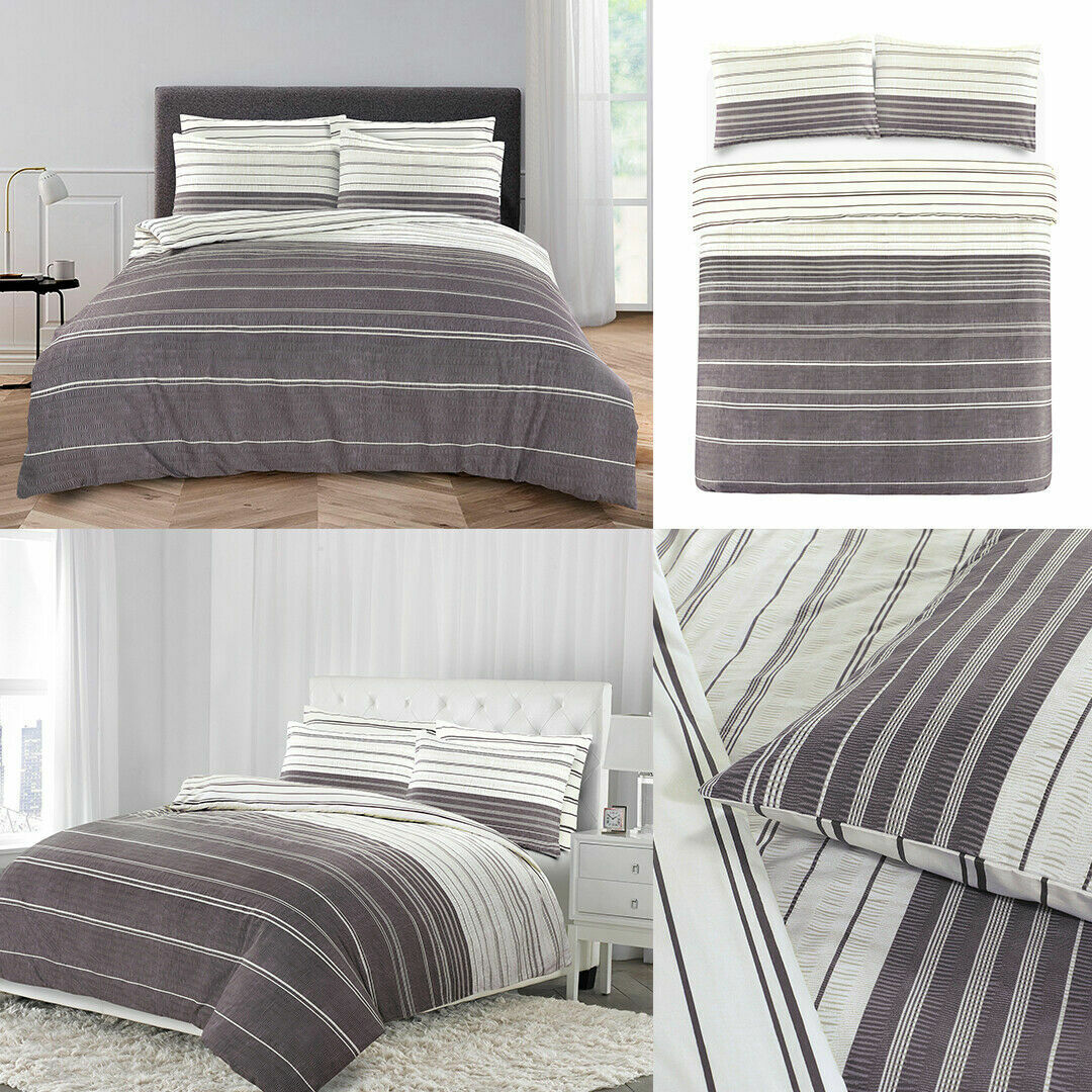Seersucker Duvet Grey Cream Striped Duvet Cover With Pillowcase Bedding Set Ebay