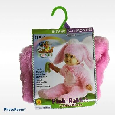 Pink Rabbit Bunny Costume Infant Baby Dress Up 6-12 Month Noah's Ark Collection