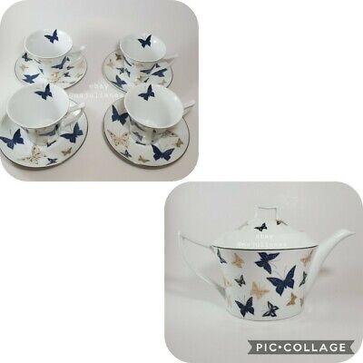 Teavana Butterfly Teapot Set Cups & Saucers