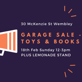 Garage Sale - 30 McKenzie St Wembley - Children Toys and Books
