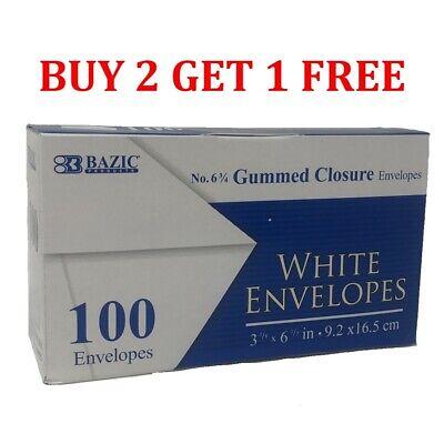 100 Gummed Closure White Letter Mailing Standard Envelopes 3-58 X 6-12