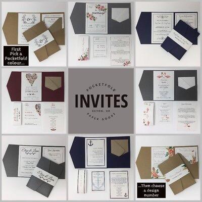 Pocket Wedding Invitation Kits (Printed Pocketfold Kit. Personalised Wedding Invitations Pocket Fold Invites)