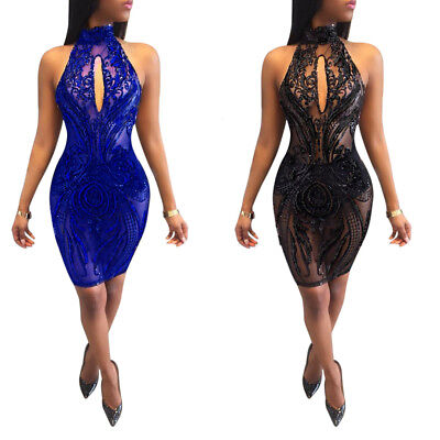 Sexy Women Keyhole Perspective Clubwear Bodycon Club Party Sequins Halter Dress