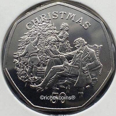 1999 IOM Xmas Commerative Diamond Finish 50p Coin