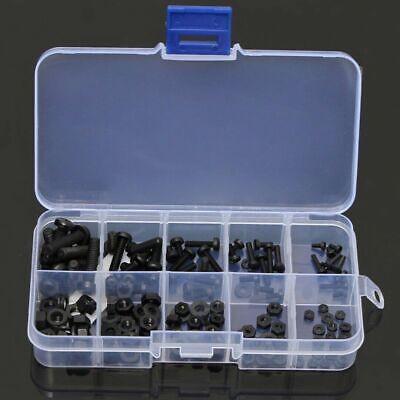150pc M2 M2.5 M3 M4 M5 Nylon Hex Screw Bolt Nut Standoff Spacer Box Set Black