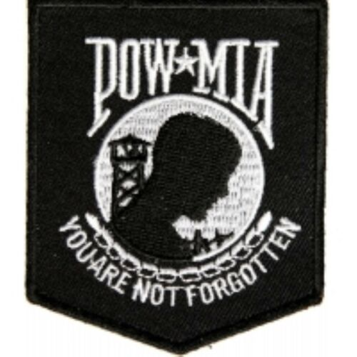 Black POW MIA Biker Patch Motorcycle Jacket Vest Military Iron on Embroidered