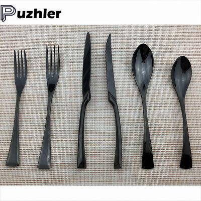 24 Piece Black Flatware Set 18/10 Stainless Steel Knife Fork Spoon Silverware