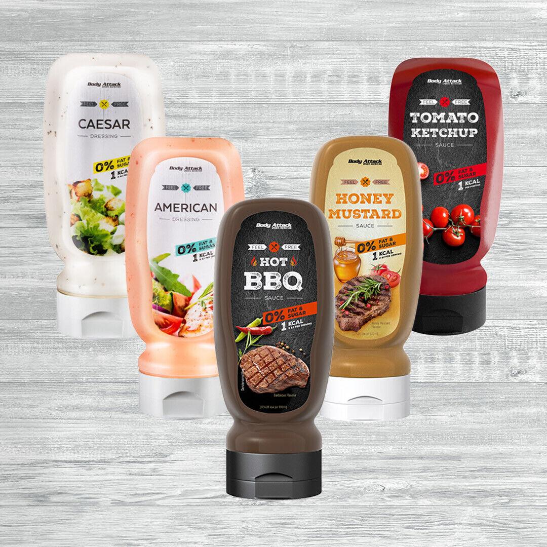 Body Attack Saucen und Dressing 320ml Flasche 14,97 €/l kalorienarm für Veganer