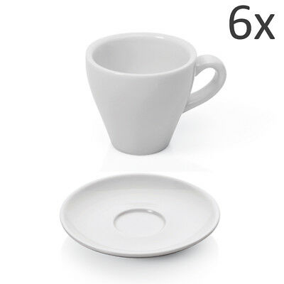 Espresso Tassen Set 12-tlg. Weiß Porzellan mit Untertasse dickwandig 90ml