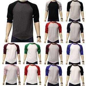 New-3-4-Sleeve-Raglan-Baseball-Mens-Plain-Tee-Jersey-Team-Sports-T-Shirt-S-3XL