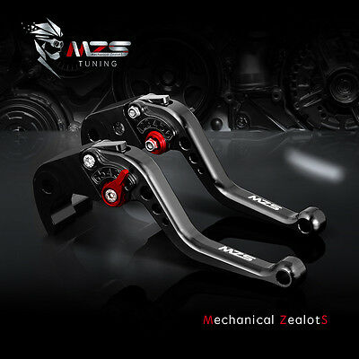 MZS Short Brake Clutch Levers Motorcycle For Yamaha YZF R1 YZF R6 R6S Black CNC