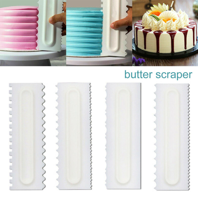 4Pcs Cake Decorating Comb Icing  Smoother Scraper Edge Frost