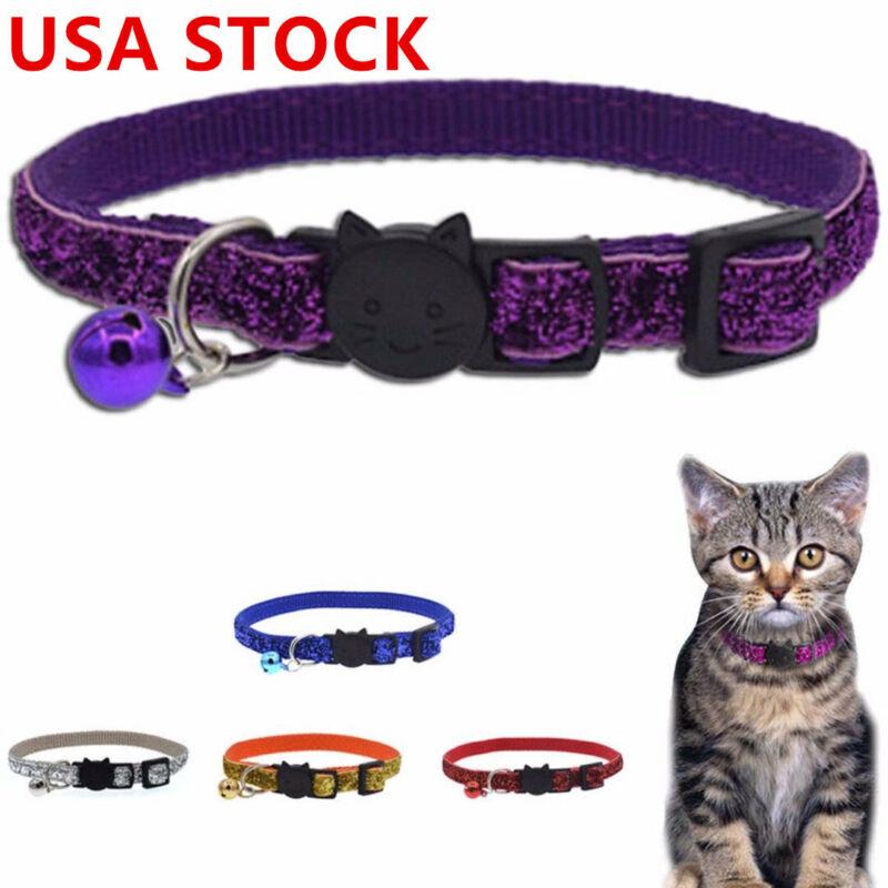 Safety Cat Collar Breakaway Neck Glitter Bell Neck Strap for