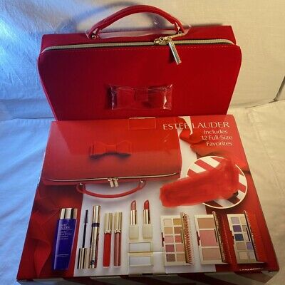 2020 New Estee Lauder Christmas Holiday Makeup Gift Set W/ Train Case (10 Items)
