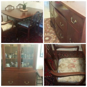 Reduced !dining table with match 6 chairs+ side bord+chest $400