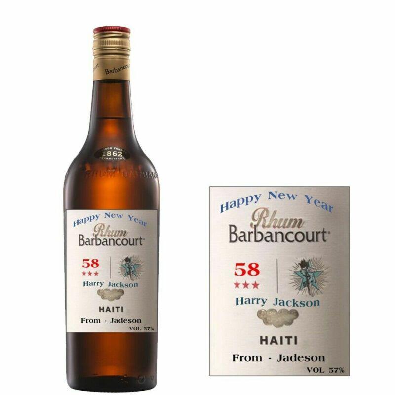 Personalised Rhum Barbancourt Rum Bottle label for New Year Xmas any occasion