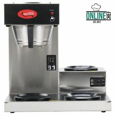 Avantco Commercial Coffee Maker Machine 3 Pot Warmer Pourover 12 Cup Brewer 120v