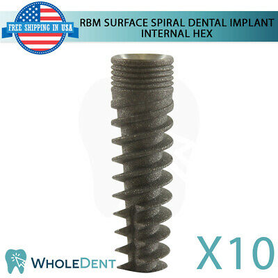 10x Dental Implant Spiral Internal Hex System Titanium Sterile Rbm Surface