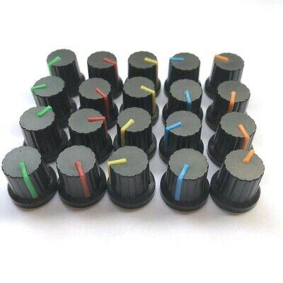 20pcs 6mm Shaft Hole Plastic Threaded Knurled Potentiometer Knobs Cap Kit 1515