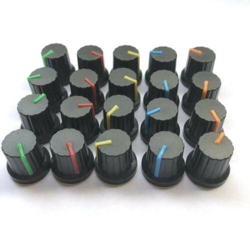 20Pcs 6mm Shaft Hole Plastic Threaded Knurled Potentiometer Knobs Cap KIT 15*15