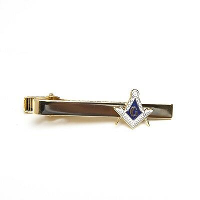 Freemason Masonic Tie Bar Clip in Gold Tone Mason
