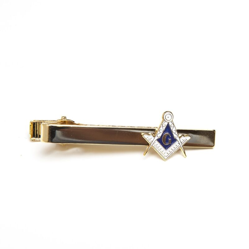 Freemason Masonic Tie Bar Clip in Gold Tone Mason