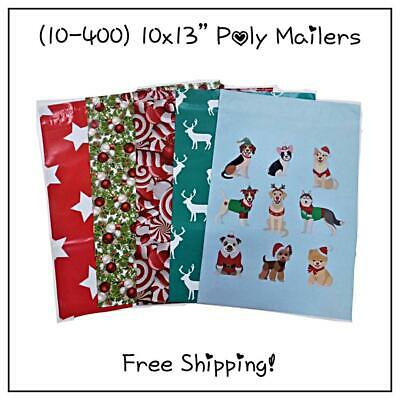 10-400 Pack - 10x13 Mix Holiday Variety Pack Poly Mailers Free Shipping